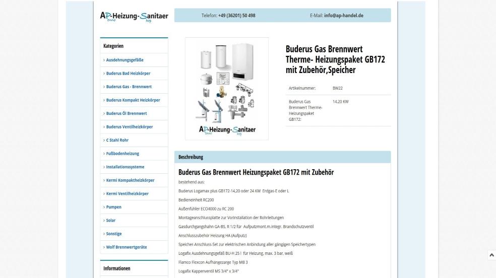 Sanitärhandel  Anke Penno Heizung & Sanitärhandel | eazyAuction Template